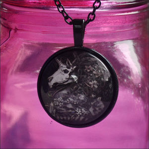 Jewelry - Black Skeleton Unicorn Dome Necklace